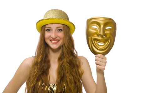 insincere: Girl in golden mask isolated on white
