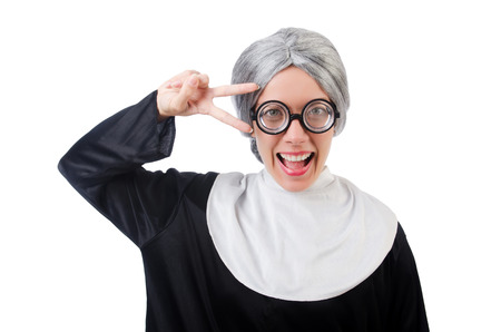 grizzle: Comic nun isolated on white Stock Photo
