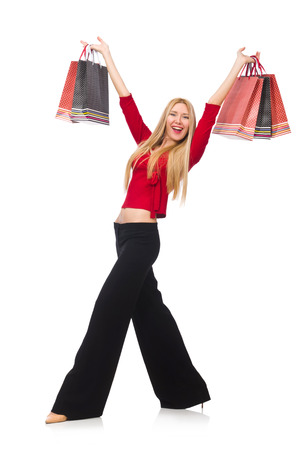 bell bottomed: Young woman in flared pants isolated on white