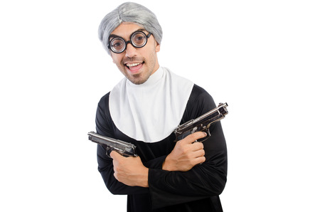 grizzled: Young man wearing as nun isolated on white Stock Photo