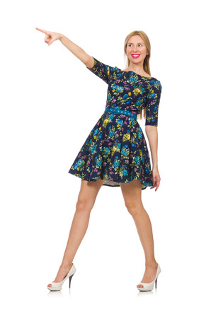 pret a porter: Woman in dark blue floral dress isolated on white Stock Photo