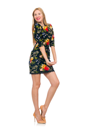 pret a porter: Woman in dark green floral dress isolated on white