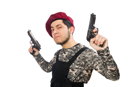 militant: Soldier with a weapon isolated on white Stock Photo
