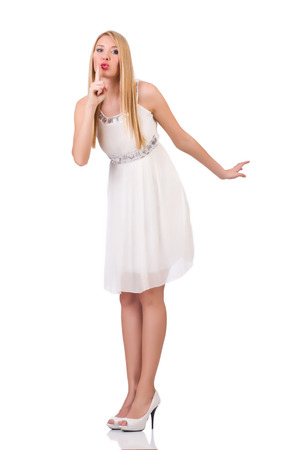 pret a porter: Beautiful woman in white dress isolated on white