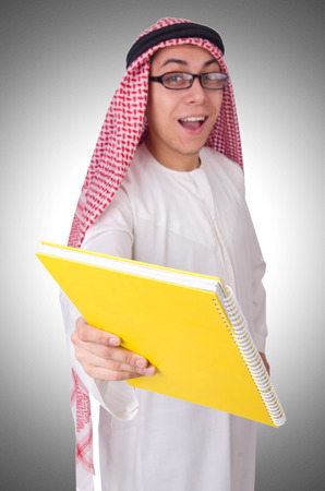 coran: Arab student isolated on white