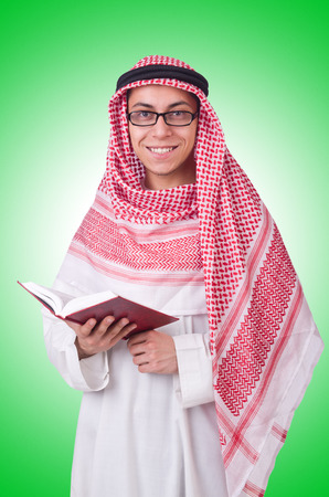 thoub: Young arab man isolated on white Stock Photo