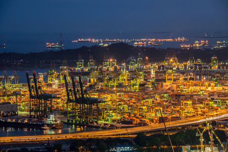 Singapore container port during evening hours photo