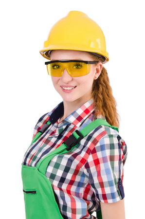 safety googles: Female handyman in overalls isolated on white