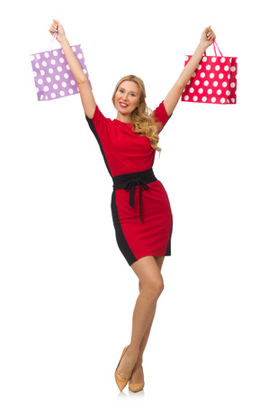 pret a porter: Beautiful lady in red black dress isolated on white Stock Photo