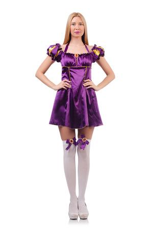 garters: Pretty woman in purple suede dress