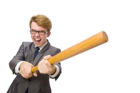baseball bat: Young businessman with baseball bat isolated on white