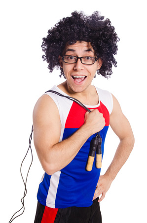 Guy with skipping rope isolated on white photo