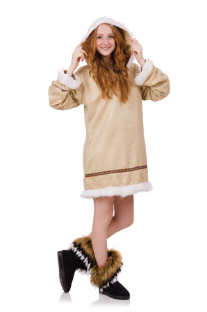 eskimo: Eskimo girl wearing clothes of all fur isolated on white