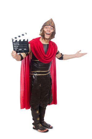 Gladiator with clapboard isolated on white photo