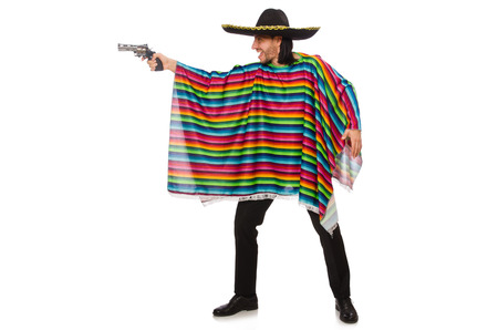 Handsome man in vivid poncho holding gun isolated on white Stock Photo