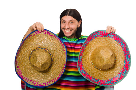 poncho: Handsome man in vivid poncho isolated on white