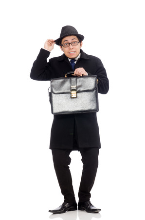 close up chimney: Young man holding suitcase isolated on white