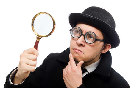 Detective with magnifying glass  isolated on white Stock Photo