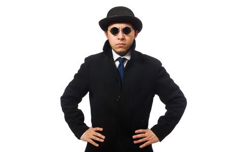 snoop: Man wearing black coat isolated on white Stock Photo