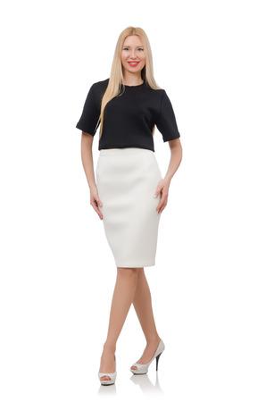 Blonde girl in black skirt isolated on white photo
