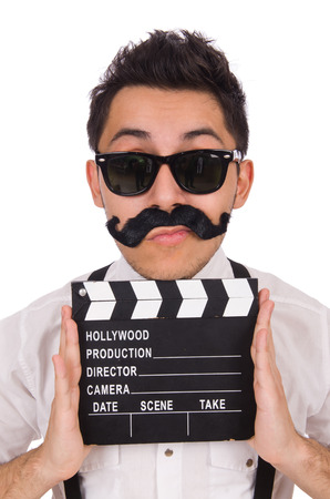 clapperboard: Whiskered young man with clapperboard isolated on white