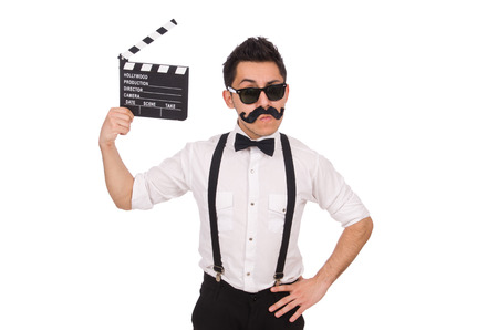 clapperboard: Whiskered man with clapperboard holding isolated on white