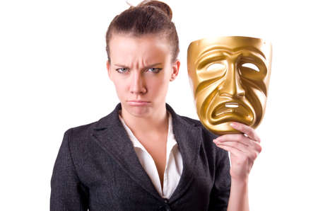 insincere: Woman with mask in hypocrisy concept