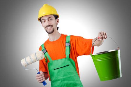 the house painter: Pintor aislado en el blanco