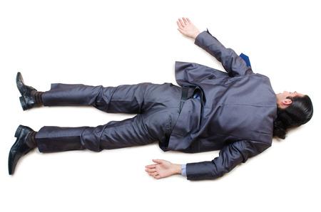 drunken: Businessman on the floor isolated on white Stock Photo
