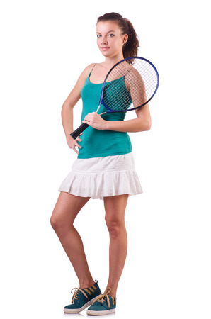 Raquet: Woman tennis player isolated on white