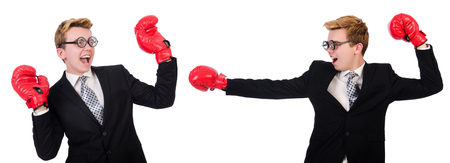 agression: Two businessmen boxing isolated on the white Stock Photo