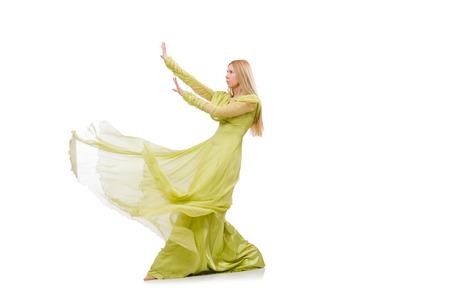 Pretty girl in elegant green dress isolated on white photo