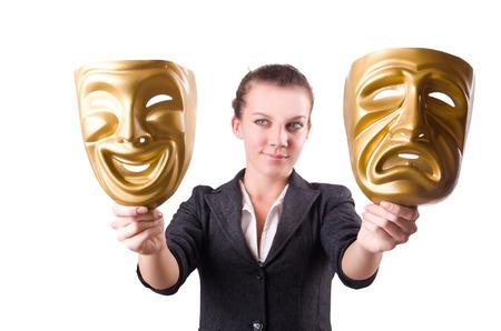 hipocresía: Mujer con la máscara de hipocresía en concepto Foto de archivo