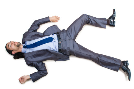 accident dead: Businessman on the floor isolated on white Stock Photo