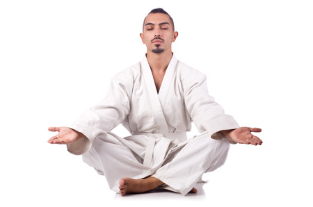 karate boy: Karate fighter isolated on the white