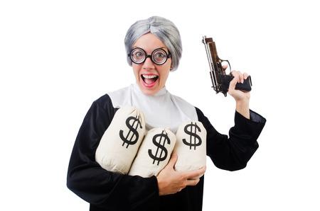 catholical: Comic nun isolated on white Stock Photo