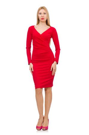 Pretty blond lady in red dress isolated on white photo