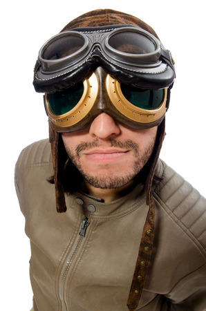 adventure aeronautical: Funny pilot isolated on the white Stock Photo