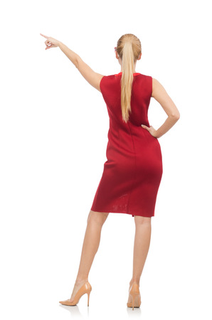 tall woman: Pretty young woman in red dress isolated on white