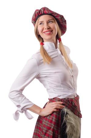 scottish female: Woman in traditional scottish clothing