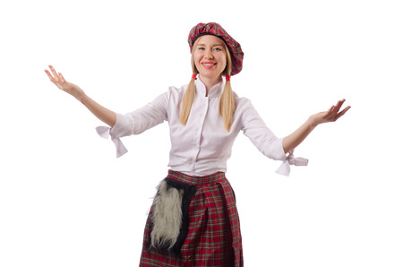 scot: Woman in traditional scottish clothing