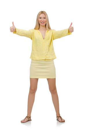 Pretty young woman in summer yellow clothing isolated on white photo