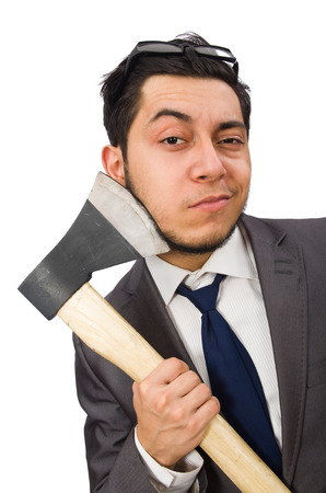 hatchet man: Young businessman holding a tool isolated on white Stock Photo