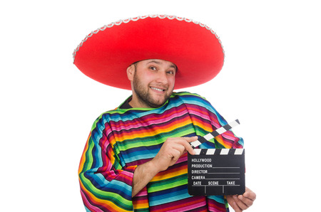 clapperboard: Funny mexican with clapper-board isolated on white Stock Photo