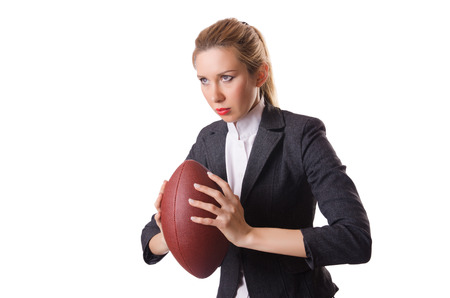 Preety office employee with rugby ball isolated on white Stock Photo