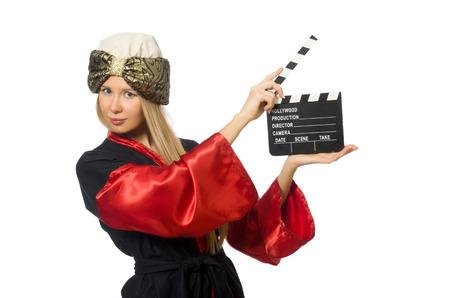 bordo: Female magician isolated on white Stock Photo