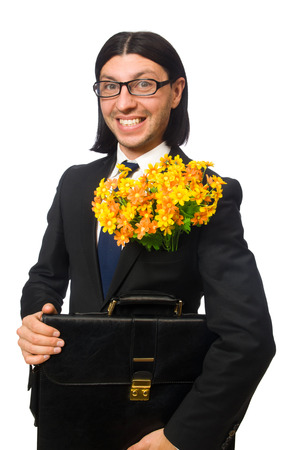 brief case: Handsome businessman with flower and brief case isolated on white