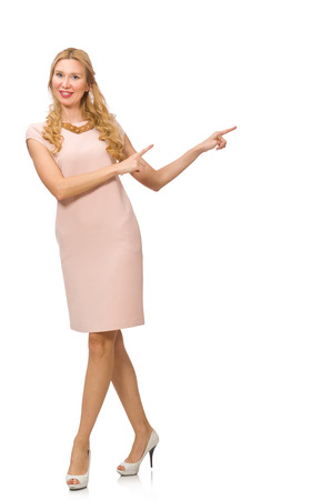 Beautiful lady in pink dress isolated on white photo