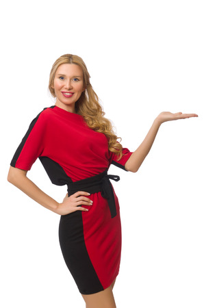 porter: Beautiful lady in red black dress isolated on white Stock Photo