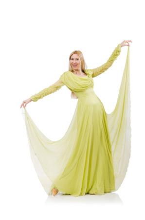 merry dancers: Pretty girl in elegant green dress isolated on white